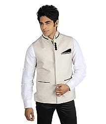 Veera Paridhan Mens Beige Nehru Jacket (Size : 38)