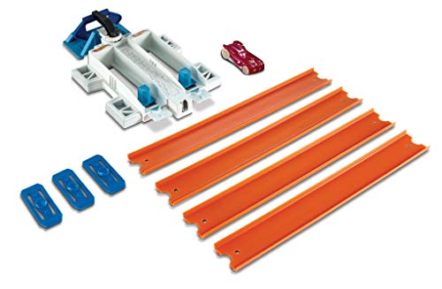 Hot Wheels DJD68 Track Builder Basis Set Doppelspur Starter, Trackset Spielset mit Zubehör, inkl. 1 Spielzeugauto, ab 6 Jahren (Fall Wheels Auto Hot)