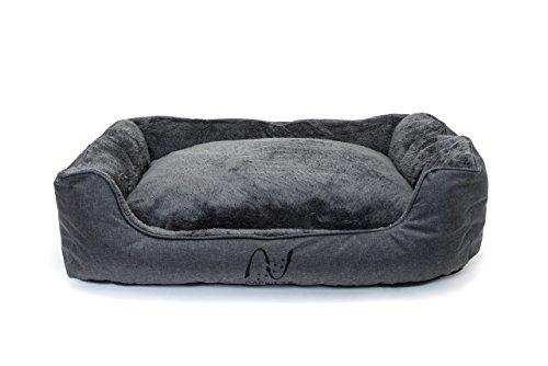 Letto per cani lavabile con cuscini sfoderabili I Cesta grigia con bordi rialzati I Cuccia per cani di media e piccola taglia