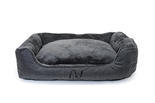 Cama perro grande lavable con almohadas de felpa reversibles I Cesta rectangular para mascotas en gris I Colchoneta para exterior y interior