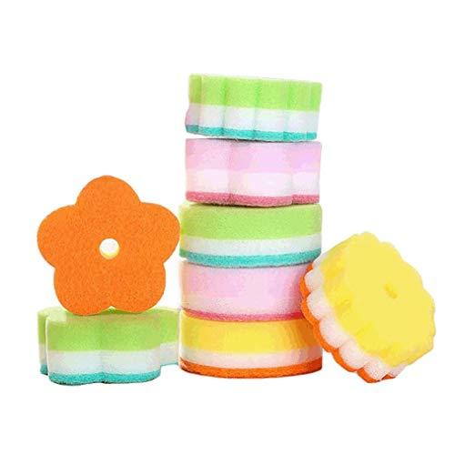 Poualss 10er-Pack Spülschwämme Scheuerschwämme Haushaltsreiniger Küchenbürsten, mehrfarbig -