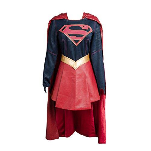 Fuman Supergirl Cosplay Kostüm Deluxe Version Karneval Kostüm Für Erwachsene Damen Blau