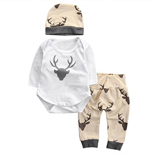 Hunpta Weihnachten jungen Mädchen Outfit Kleidung Elch Print T-Shirt Strampler + lange Hose + Hut 1Set (70CM, Weiß)