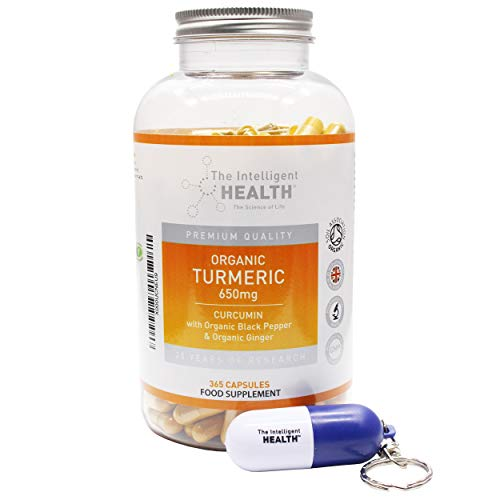 Organic Turmeric Curcumin Capsules 650mg W/Organic Black Pepper & Organic Ginger for Enhanced Absorption | Highly Potent Inflammation Supplement - with Free Pill Bottle Box - 365 Vegan Capsules
