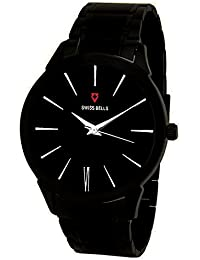 Svviss Bells™ Original Black Dial Black Stainless Steel Analog Wrist Watch For Men - TA-941