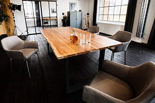 Kasper Wohndesign Esstisch massiv mit Baumkante (180, Fuß schwarz)