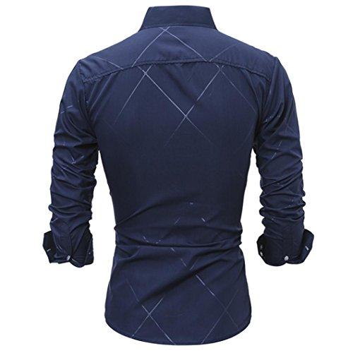 Herren Hemd Longra Männer Langarmshirt Casual Slim Fit Langarm Hemd Blusen Navy