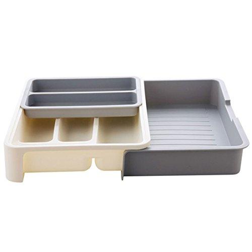 Levoberg Cutlery Rack Expandable Filing Cabinet Plastic Kitchen Utensil Tray Drawer Desk Organizer