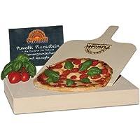 Pimotti 202_004 Schamott Pizzastein, Brotbackstein, 5cm, mit Schaufel und Rezepten