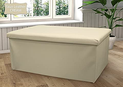 New Large Ottoman Foldaway Storage Blanket Toy Box Bench Faux