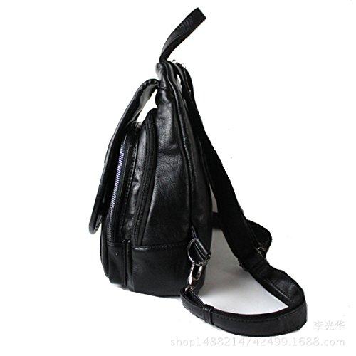 Frauen Reißverschluss Rucksack Multifunktions- Chest Pack PU Reisetasche Schwarz Black