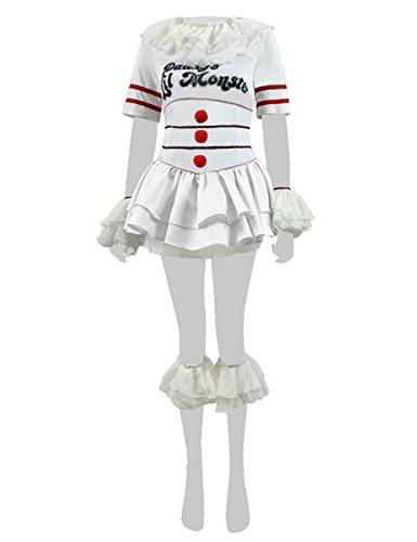 Yewei Clown Horrorfilm Damen Clown Kostüm Halloween Silber Weiß Kleid Outfit (Weiß, S)