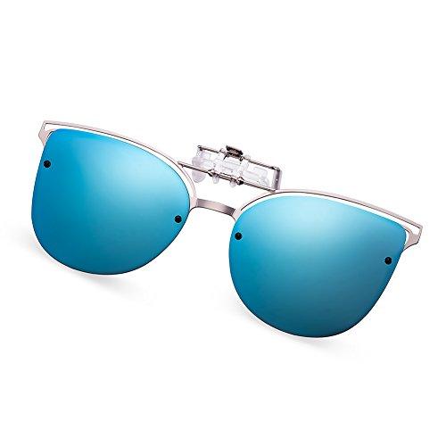 WELUK brille clip, Katzenauge Mode UV-Schutz Sonnenbrille Aufsatz für Frauen, flip-Sonnenbrille aus Metallrahmen für Korrekturbrillen. (Blau)