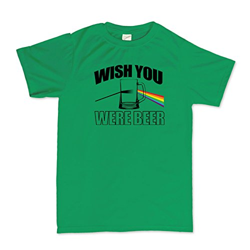 Wish You Were Beer Here Funny T-shirt Hellgrün