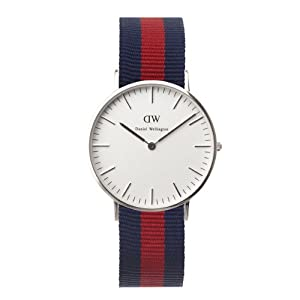 Daniel Wellington 0601DW – Reloj para mujer de Cuarzo con correa de Nailon azul marino y rojo