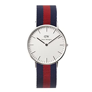 Daniel Wellington Oxford Silver Women's Quartz Watch with White Dial Analogue Display and Multicolour Nylon Strap 0601DW (B00BKQT90K) | Amazon Products