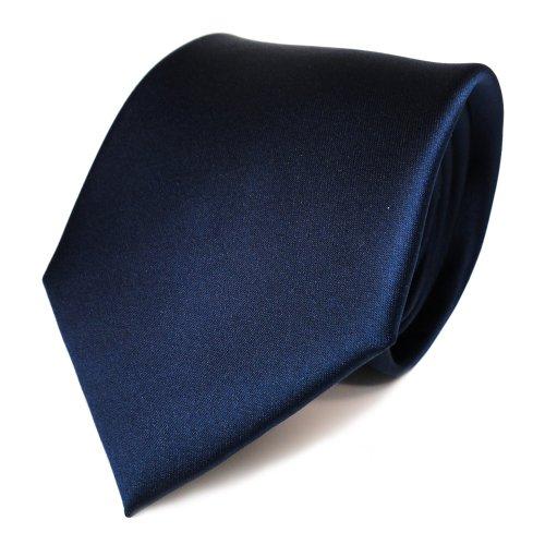 Tigertie raso cravatta - blu scuro zaffiro marino uni - 100% poliestere