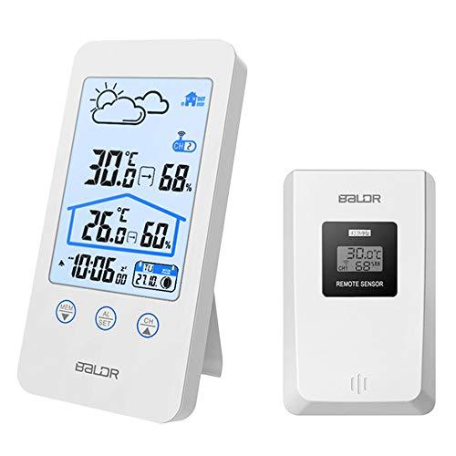 DELAISUS Wetterstation Funk mit Außensensor, Digitales Thermometer Hygrometer für Innen und außen, 12 in 1 Wetterstation mit Wettervorhersage, Hintergrundbeleuchtung und Uhr, Wecker, Mondphase usw.