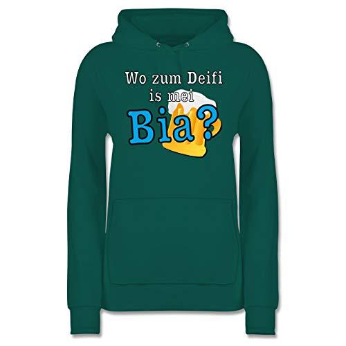 Shirtracer Après Ski - Wo zum Deifi is MEI Bia? - XXL - Türkis - JH001F - Damen Hoodie