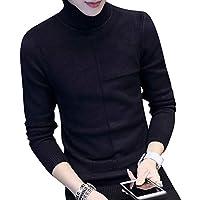 Byqny Hombre Diagrama Geométrico Camisa Inferior Casual Suéter de Punto Cuello Alto Sweater Manga Larga