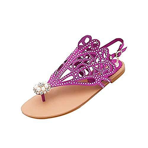 Shose Vitage Damen Strass, Flacher Absatz Anti-Rutsch-Strandschuhe Rom-Sandalen, Hausschuhe für Frauen von Shoes On, Violett - violett - Größe: 39 EU
