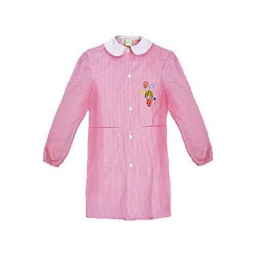 Grembiule scuola bimba asilo con bottoni bianco e rosa art. 742 (65, rosa)