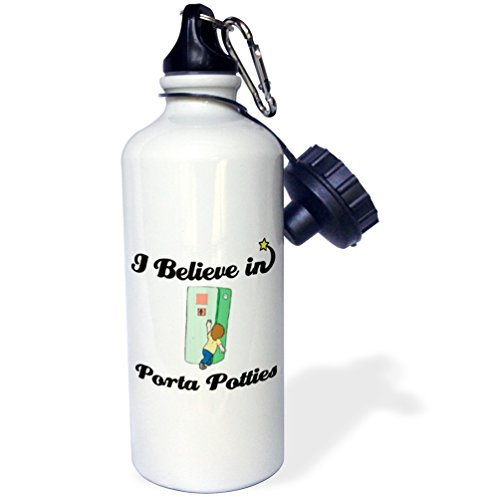 Sports Water Bottle Gift, I Believe In Porta Potties White Stainless Steel Water Bottle for Women Men 21oz