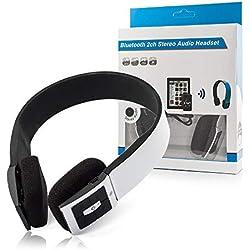 OZZZO Casque Audio Bluetooth Son 3D avec Micro Blanc pour HTC Touch Pro 2 t7373