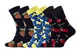 Sesto Senso® Lustige Socken Baumwolle Damen Herren 1er oder 3er Paar Wadensocken Unisex Wunderliche Seltsame Ungerade Fun Socks (39-42, 3 pack Früchte)