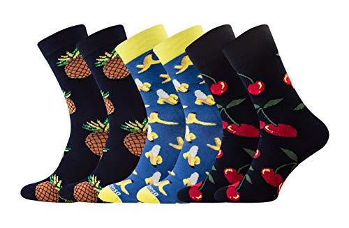 Sesto Senso® Lustige Socken Baumwolle Damen Herren 1er oder 3er Paar Wadensocken Unisex Wunderliche Seltsame Ungerade Fun Socks (39-42, 3 pack Früchte) - Frucht Frauen