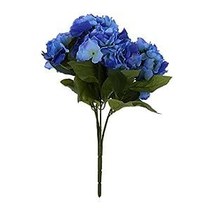 REFURBISHHOUSE Ramo de 5 Cabezas de Flor de Hortensia Artificial para Decoracion de Boda Jardin Fiesta de Color Azul…
