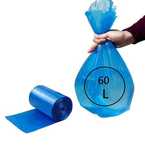 Rinboat 50 - 60 Litri Blu Color Sacchi della Spazzatura Sacchi per Pattumiera, 80 Conta/1 Rotolo