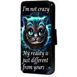 Alicia no estoy loca Cheschire gato piel sintética teléfono móvil para iPhone 4 5c 6s Samsung s6 s5 s4 s3 mini, LG G3