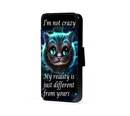 Crazy Handy-fällen (Alice im Wunderland I'm not crazy Cat Cheshire Kunstleder wallet Handy Tasche Schutz Hülle für Samsung Galaxy A5 A500F 2015 version)