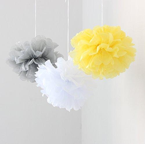 6 Stück, weiß/grau, gelb, mit Pom Poms, Pompons aus Seidenpapier, Hochzeit Geburtstag Jubiläum Party Weihnachten Kinderzimmer Dekoration