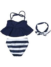 domybest Niñas Tankini Bañador para niña de baño 3pcs azul Tops rayas Slip con diadema talla UK 2–7años