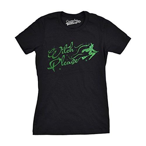 Crazy Dog Tshirts - Womens Witch Please Tshirt Funny Halloween Trick Or Treat Glitter Ink Tee (Black) XL - Damen - XL