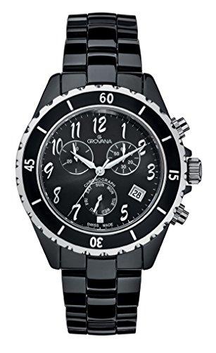 GROVANA 4001,9187 De cuarzo Swiss Unisex reloj infantil con mecanismo de esfera analógica y de cerámica de color negro pulsera