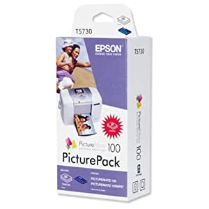 Epson PicturePack 100 Pap. Phot. Brillant 10x15 (135f.) + Cart.4 c. - PM100 - cartouches d'encre (Epson, T573, Noir, Cyan, Magenta, Jaune, PictureMate 100, Jet d'encre, Boîte)