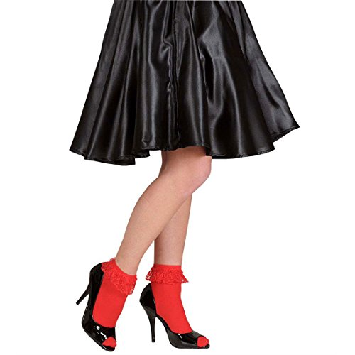 Süße Rote Rockabilly Rüschensocken Spitze Söckchen Vintage Knöchelsocken Garde Rüschen Socken Retro Strümpfe 50er 60er Jahre Kostüm Zubehör (Süßes 50er Jahre Kostüme)