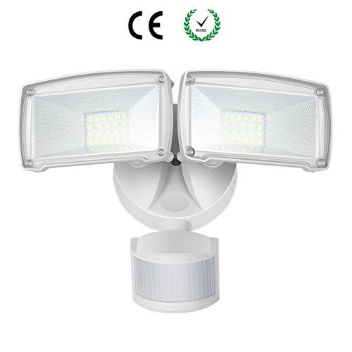 Dual-Kopf Bewegungs-Sensor-Licht, 22W LED-Außenstrahler mit einstellbarem Bewegungsmelder, 1600lm, 5000K Tageslichtweiß, IP65 Wasserdicht LED Fluter für Hof, Garten, Deck, Garage Sensor Garage Licht