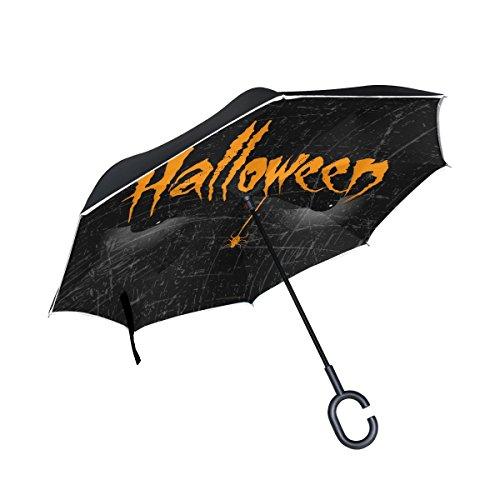 alloween Eye Spider seitenverkehrt Regenschirm Double Layer Winddichte Rückseite Faltbarer Regenschirm für Auto mit C-förmigem Henkel ()