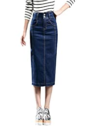 2e7e815bbd YiLianDa Denim Pencil Skirt Midi Jean Skirt High Waist Midi Skirt With  Pocket Sexy