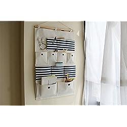 Borsa portaoggetti da parete Organizzatore, Armadio Organizzatore,Lino/cotone tessuto 12 tasche parete Porta armadio Hanging dell'organizzatore immagazzinaggio del sacchetto dell'organizzatore,74*45CM