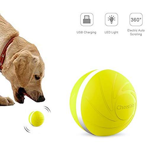 Dvuboo Elektrischer Haustierball,USB-Lade 360 Grad Automatischer selbstdrehender Ball Magic Roller Ball mit LED-Licht für Hundekatze Pet Unterhaltung,Gelb