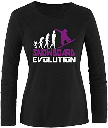 EZYshirt® Snowboard Evolution Damen Longsleeve Schwarz/Weiss/Violett