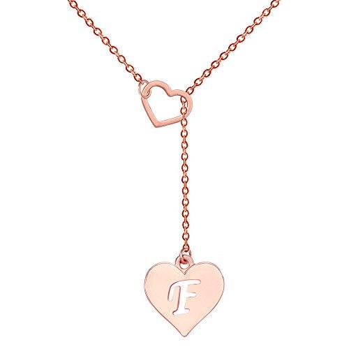 SENFAI Lange Halskette Herzförmige Y Halskette mit 26 Buchstaben Alphabet für Frauen, 18 + 2 Zoll (F, Roségold)