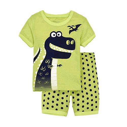 Dhasiue Baumwolle Jungen Dinosaurier Schlafanzug Kurzarm Nachtwäsche Pajama Sets für Kinder 86-122 (Dinosaurier-nachtwäsche)