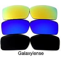 Lentes de repuesto para Oakley Gascan Negro y Azul y Oro Color Polarizados -3 Pares (Negro/Azul/Gris)