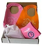 (Kit Doppio) Riduttore WC Portatile Per Bambini Più 2 Bavaglini In Silicone Lavabili Impermeabili Pappa con Tasca Bimbi e Neonati Pieghevole Universale da Viaggio